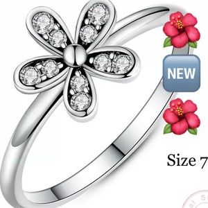 Flower Fashion Ring SsPlate Size 7 🌀🆕🌀